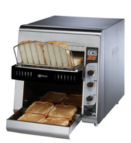 """Star QCS® Conveyor Toaster, electric, 500 slices/hr., horizontal conveyor, analog speed, standby switch, independent controls for top & bottom quartz sheathed heater elements, 1-1/2"""" opening x 10"""" W belt (2 slice) with loading rack, stainless steel construction with smooth cool touch exterior, cULus, UL EPH"""