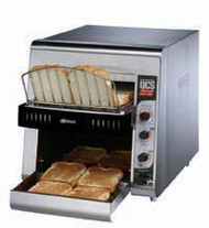 """Star QCS® Conveyor Toaster, electric, 800 slices/hr., horizontal conveyor, analog speed, standby switch, independent controls for top & bottom quartz sheathed heater elements, 1-1/2"""" opening x 10"""" W belt (2 slice) with loading rack, stainless steel construction with smooth cool touch exterior, cULus, UL EPH"""