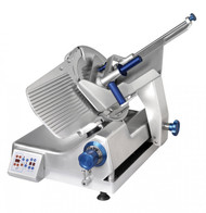 """Premium™ Series Slicer, 12 automatic settings, gravity feed, 13"""" diameter knife, variable slice thickness 0"""" - 0.875"""" (0.22mm), 35-64 strokes per minute, belt driven, remote sharpener mounts in seconds, carriage tilts back for easy cleaning, lift device and zero blade exposure during cleaning, 1680 RPM, .37kW, 1/2 HP motor, anodized aluminum construction, ETL, NSF"""