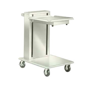 "Tray & Glass/Cup Rack Dispenser, cantilever style, mobile, (1) self-leveling tray platform, for 14"" x 18"" trays, stainless steel construction, 4"" swivel casters (2) with brakes, NSF"