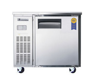 """Undercounter/Worktop Refrigerator, one-section, 9 cu. ft. capacity, (2) shelves, side mounted refrigeration system, digital control system, adjustable self-closing door, door locks (from 2015 model), stainless steel interior & exterior, (4) 4"""" diameter (5"""" overall height) swivel casters (front with brakes), removable detergent-safe air filter, shielded incandescent interior lighting, 115v/60/1-ph, NEMA 5-15P, 1/4+ HP, 3.52 amps, NSF / ANSI 7, ETL Safety"""