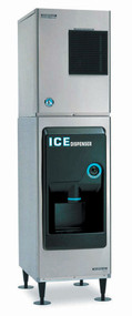 "Ice Dispenser, approximately 130-lb built-in storage capacity, accommodates KM-320, KM-340, KM-515, KM-600, KM-650 series cubers, ABS molded front panel, 6"" flanged painted legs, ice dispensing area is ADA compliant, 115V/60/1-ph, 1.4 amps, 60 watts. SHOWN WITH KM-320MAH ICE MAKER"
