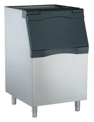 """Ice Bin, top-hinged front-opening door, 536 lb application capacity, for top-mounted ice maker, polyethylene liner, metallic finish exterior, includes 6"""" legs, NSF"""
