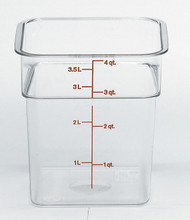 """CamSquare® Food Container, 4 qt., 7-1/4""""L x 7-1/4""""W x 7-3/8""""H, red graduation, polycarbonate, dishwasher safe, resists stains & odors, clear, NSF"""