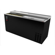 "Bottle Cooler, flat top, 65-1/2"" wide, deep well horizontal, (33.5 cs) 12 oz. can/(26 cs) 12 oz. bottle capacity, (2) lids, (4) epoxy coated adjustable bin dividers, locks per lid, analog thermostat, fluorescent interior light, removable bottle opener, cap catcher, galvanized interior, s/s floor, stainless steel top with raised glass rails, black exterior finish, side mounted self-contained refrigeration, 1/3 hp, cETL, UL, NSF, Made in North America"