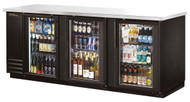 "Back Bar Cooler, three-section, 37"" high, (152) 6-packs or (4) keg capacity, (6) shelves, condensing unit on left, stainless steel top, galvanized interior with stainless steel floor, black vinyl exterior, (3) glass doors with locks, LED interior light, R290 Hydrocarbon refrigerant, 1/4 HP, 115v/60/1, 2.8 amps, NEMA 5-15P, cULus, UL EPH Classified, MADE IN USA. CALL FOR YOUR PRICE"