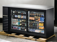 "Back Bar Cooler, two-section, 24"" deep, 35-5/8"" high, (72) 6-packs or (3) 1/2 keg capacity, (4) wire shelves, condensing unit on left, stainless steel top, galvanized interior with stainless steel floor, black vinyl exterior, (2) glass sliding doors, LED interior light, R290 Hydrocarbon refrigerant, 1/4 HP, 115v/60/1, 2.7 amps, NEMA 5-15P, cULus, UL EPH Classified, MADE IN USA"