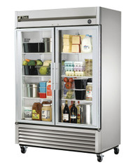 """Refrigerator, Reach-in, two-section, framed glass door version 01, (2) glass doors, stainless steel front, aluminum sides, clear coated aluminum interior with stainless steel floor, (6) adjustable PVC-coated wire shelves, LED interior lighting, 4"""" castors, R290 Hydrocarbon refrigerant, 1/2 HP, 115v/60/1, 5.4 amps, NEMA 5-15P, cULus, UL EPH Classified, MADE IN USA. CALL FOR YOUR PRICE."""