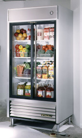 """CALL FOR PRICING. Refrigerator, Reach-in, (2) glass sliding doors, stainless steel front, aluminum sides, white aluminum interior with stainless steel floor, (6) white shelves, LED interior lighting, 6"""" legs, R290 Hydrocarbon refrigerant, 1/2 HP, 115v/60/1, 6.5 amps, NEMA 5-15P, cULus, UL EPH Classified, MADE IN USA"""