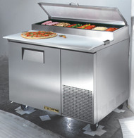 """Pizza Prep, 33-41°F pan rail, stainless steel cover, 19.5""""D cutting board, stainless steel front, top & sides, (1) door, (2) adjustable wire shelves, includes (6) 1/3 size clear polycarbonate insert pans (top), aluminum interior with stainless steel floor, 5"""" castors, front breathing, 1/3 HP, 115v/60/1, 8.6 amps, NEMA 5-15P, UL EPH Classified, cULus, CE, MADE IN USA"""