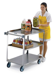 """Handler™ Medium Duty Utility Cart, 3-tier, open base, 500 lbs capacity, 21"""" x 35"""" shelf size, 13-1/8"""" shelf clearance, sound deadening panels, one-piece vertical push handle, (2) bumpers on front legs, stainless steel construction, 5"""" swivel casters with non-marking polyurethane tread"""