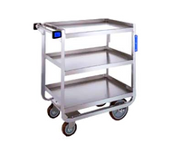"""Tough Transport® Utility Cart, 3-tier, 39""""W x 22-3/4""""D x 37-3/8""""H, stainless steel construction, open base U-frame with angled stainless steel, 21"""" x 33"""" 14-gauge shelves with reinforced edges, 11-3/8"""" shelf clearance, 1"""" O.D. tube push handle with bumpers, (2) 6"""" bumpers riveted to front legs, 1000 lb. capacity, (2) 5"""" reinforced swivel plate casters & (2) 8"""" fixed casters with non-marking polyurethane wheels, NSF"""