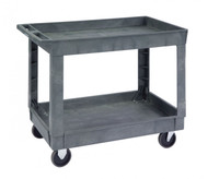 """Deep Well Utility Cart, 36""""W x 24""""D shelf size, (2) shelves with 3"""" side walls, 19-3/4"""" shelf clearance, 500 lb. capacity, integrated push handle, structural foam plastic construction, No-Mark® 5"""" plate-mount casters (2) swivel (2) fixed"""