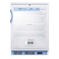 Pharmaceutical Undercounter Refrigerator, 5.5 cu.ft. capacity, built-in or freestanding, high/low temperature alarm, automatic defrost, digital thermostat, glass door, front lock, RHD door swing, LED lighting, (4) adjustable wire shelves, fan-cooled interior,  white exterior finish, 115v/60/1, 1.3 amps, ETL, cETL, ETL-Sanitation (Commercial)