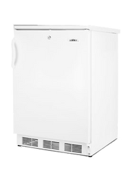 Undercounter Refrigerator, single-section, 5.5 cu. ft. capacity, reversible door with flat liner, front-mounted lock, adjustable wire shelves & thermostat, automatic defrost, interior light & liner, white cabinet & door finish, 115v/60/1, cord, UL (Commercial)