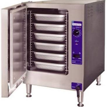 "SteamChef™ 6 Convection Steamer, electric, boilerless, countertop, 1 compartment, (6) full size pan capacity, SureCook controls, 60-minute electro-mechanical timer & manual (continuous steaming) bypass switch, left-hand hinged door, controls on right, automatic drain & water level controls, KleanShield™ interior, standard treated & tap water connection, stainless steel exterior, 4"" adjustable legs, ENERGY STAR®"