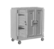 """Meal Delivery Cart, tall profile, (3) doors, 3-compartments, holds (30) 14"""" x 18"""" trays, 60""""W x 29-1/4""""D x 63-5/8""""H, heavy duty nylon handles, 1 per end, 6"""" stainless steel casters (2 rigid, 2 swivel with brake, offset), granite gray with cream color door, NSF"""