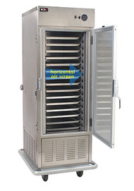 """HORIZONTAL AIR FLOW.  Air-Screen Trayline Refrigerated Cabinet, mobile, insulated with 1/2 HP bottom-mounted refrigerator system, (30) 14""""x 18"""" & (15) 18""""x 26"""" pans, slides fixed, 3"""" centers, full height tempered glass doors std., stainless steel construction, 6"""" swivel casters, 120/60/1-ph, 9amps, NEMA 5-20P, 10' cord, cUL, NSF (RapidShip)"""