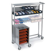 "Tray Starter Station, mobile, solid top shelf, back panel holds (2) rows of hanging plastic bins (not included), square tube frame holds full, 1/2 & 1/3 size food pans (not included), compartment with ledges for 14""x18"" or 15""x20"" trays, stainless steel construction, 5"" swivel casters (2) with brakes, NSF"