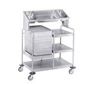"Tray Starter Caddy, 37""L x 23""W x 51""H, integral Rite-Hite tray dispenser on left, top & middle shelves on left, sloped overhead shelf w/3 cutouts: (2) 1/3 size & (1) full size (pans not included), s/s construction, 4"" HD swivel casters (2 with brakes)"