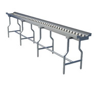 "Tray Make-Up Conveyor, 12' section, 2"" O.D. grey PVC tubing with stainless steel ball bearings, rollers are mounted on stainless steel hex spring loaded shafts, 1-5/8"" stainless steel tubular legs with bullet feet welded to conveyor frame"