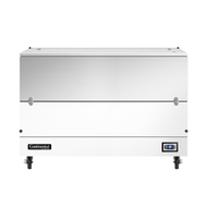 """Milk Cooler, 58"""" long, single access, cold wall cooling, (16) 13"""" x 13"""" x 11"""" or (10) 19"""" x 13"""" x 11"""" crate capacity, stainless steel top, lid & door, door cylinder security lock, electronic control with digital display, hi-low alarm, hi/low temperature alarm, white finished steel exterior body, galvanized interior with reinforced stainless steel floor, floor drain, (4) 5"""" swivel casters with front locking brakes, 1/3 HP, cETLus, NSF, Made in USA"""