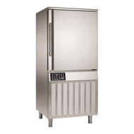 """Blast Chiller/Shock Freezer, Reach-In, self-contained refrigeration, (12) 18"""" x 26"""" x 1"""" pan capacity, 2.56"""" shelf spacing, 100lbs. chill from 194°F to 37°F in 90 mins, 70 lbs. freeze from 194°F to 0°F in 240 mins, (1) core temp probe, electronic control with LCD temperature display, HACCP monitoring, safety micro-switch, programmable controls, RS 485 connection, manual defrost, bottom mount refrigeration, stainless steel construction, adjustable feet, 2-3/4 HP, cETLus, ETL"""