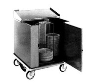 "Heated Dish Storage Cart, rotary design, enclosed type, dish dividers for 252- 11"" max diameter plates, stainless steel base and dividers, 5"" casters, 120/50/60/1-ph, 1400w, 11.7amps, NEMA 5-15P, cUL, NSF"