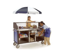 "Serv'n Express™ Kiosk, mobile, 77-1/4""W x 28-1/4""D x 52-1/2""H, flat stainless steel work surface, (1) slide-out laminate shelf in middle compartment, (3) interior stainless steel compartments, heavy-duty tubular push handles, stainless steel with laminate finish, 8"" casters ( (2) swivel with brakes, (2) swivel with lock)"