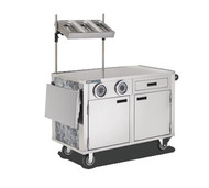 """Hydration Cart, 53.75"""" x 27.19"""" x 64.92"""", mobile, flat work surface, marine edge, condiment shelf, slide out shelves accommodates glass racks or Coldmaster® Coldpans, right side push handle, 6"""" Performa Quiet casters, stainless steel"""