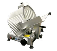 "Economy™ Series Slicer, compact, economy, manual gravity feed, 12"" diameter blade, variable slice thickness 0"" to .5"", belt-driven blade assembly, built-in sharpener, anodized aluminum construction, detachable carriage, 1680 RPM, .19kW, 1/4 HP motor, cETLus, NSF"