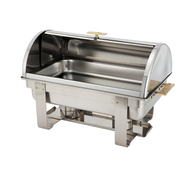 Dallas Chafer, 8 quart, full size, stainless steel with gold accents, roll top