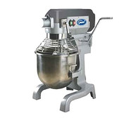 Commercial Planetary Mixer, 20 qt., 3 pre-selected fixed speeds (108/195/355 rpm), #12 taper hub, heat treated carbon steel gears fully sealed, overload switch, manual bowl lift, includes: stainless steel bowl, bowl guard with magnetic lock, spiral dough hook, flat batter beater & wire whip, 1-1/2 HP, 15 amps, cETLus, CE