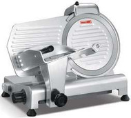"Meat Slicer, manual, 12"" diameter knife, angle/gravity feed, medium duty, top-mounted metal sharpener with (2) grinding stones, belt driven, stainless steel blade, removable ball-bearing carriage, permanently attached ring guard, anodized aluminum, non-slip rubber feet, 110v/60/1-ph, 1/2 HP, NEMA 5-15P, ETL, cETLus"