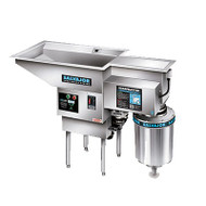 Pot/Pan ScrapMaster,scrapping,pre-flushing &disposing system withwater recirculation,large top openingto accommodate pots & pans, 5 HP disposer,salvage basin & silverware trap, stainless steel construction, with start/stop push button auto reversing control & safety line disconnect