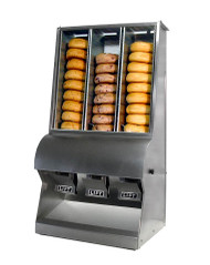 """(3)  compartment Bagel Dispenser W 17"""" X D 15"""" X H 33"""". Constructed of durable and attractive 304 polished stainless steel. NSF listed"""