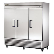 "Freezer, Reach-in, -10° F, three-section, stainless steel doors, stainless steel front, aluminum sides, aluminum interior with stainless steel floor, (9) adjustable PVC-coated wire shelves, interior lighting, 4"" castors, 1 HP, 115v/60/1, 12.0 amps, NEMA 5-20P, 9' cord, MADE IN USA"