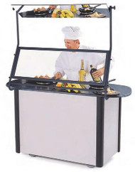 "Creation Station™ Mobile Cooking Cart, 60""W x 32""D x 35-3/4""H, (2) induction heat stoves, 2) adjustable removable pull-out shelves, (3) sets universal pan slides, stainless steel interior, laminated exterior, solid resin top with recessed area, includes bin, 5"" Lake-Glide® No-Mark® polyurethane swivel casters (2) with brakes, ETL. Includes demonstration mirror and sneeze guard."
