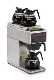 Coffee Brewer, portable, pour-over capability, single, temperature-controlled, brews directly into decanters, 1.2 gallon tank capacity, (3) warmers, stainless steel construction, 120v/60/1-ph, 15 amps, 1700 watts, NEMA 5-15P, NSF (Grindmaster)