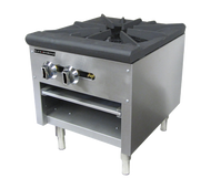 "Black Diamond Stock Pot Burner, (1) 3-ring burner, dual control valves, removable 1-7/8"" thick cast iron grate, crumb tray, (2) standing pilot lights, stainless steel, 6"" adjustable legs, includes tips for field conversion to LPG, 80,000 BTU, 3/4"" rear NPT, cETLus, ETL"