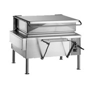 """50 Hz Braising Pan, electric, 40-gallon capacity, 46"""" wide open base, manual tilt, 9"""" deep stainless steel pan with gallon markings, pouring lip & removable strainer, spring assist cover with drip edge, pan holder, water tight solid state controls, includes L faucet bracket, 12"""" stainless steel legs with adjustable flanged feet, UL, cUL, UL EPH"""