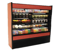 """50 Hz Oasis® Self-Service Refrigerated Merchandiser, 66-3/8""""W, high profile, open front, (4) non-lighted shelves, top light, Breeze™ with EnergyWise self-contained refrigeration system, Blue Fin coated coil, one piece formed ABS plastic tub, black interior, laminate exterior, full end panels with mirror, cETLus, ETL-Sanitation"""