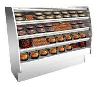 """50 Hz Fusion® Self-Serve Hot Deli Merchandiser, 75-3/8""""W, 60""""H, high profile, open front, full end panels with mirror, heated metal shelves with incandescent lights, laminated exterior, stainless steel interior, front access to controls, stainless steel solid back panel, cETLus, ETL-Sanitation"""