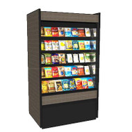 """50 Hz Oasis® Self-Service Non-Refrigerated Ambient Merchandiser, 59-5/8""""W, high profile, open front, (4) non-lighted shelves, top light, black interior, full end panels with mirror, cETLus, ETL-Sanitation"""
