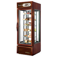 50 Hz Specialty Merchandiser, reach-in, one-section, (6) rotating glass shelves, bronze powder coat finish exterior, white aluminum interior liner with stainless steel floor, (4) Low-E thermal glass sides including (1) hinged glass door, low UV emitting LED lighting, bottom mounted self-contained refrigeration, 1/2 HP, 115v/60/1, 10.0 amps, NEMA 5-15P, 9' cord, MADE IN USA