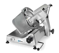 """50 hz Premium™ Series Slicer, manual, gravity feed, 13"""" diameter knife, variable slice thickness 0"""" - 0.875"""" (0.22mm), remote sharpener mounts in seconds, belt driven, carriage tilts back for easy cleaning, lift device and zero blade exposure during cleaning, anodized aluminum construction, .37kW, 1/2 HP motor, ETL, NSF"""
