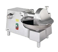 """50 Hz Bowl Cutter with Built-In #12 PTO Hub 269 rpm, 18"""" diameter stainless steel bowl 22 rpm, twin stainless steel knives 3,768 cuts/min, start/stop button, bowl cover interlock, polished & anodized aluminum construction, 1 HP motor, 5' cord & plug, ETL, NSF"""