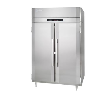 50 Hz UltraSpec Series Heated Cabinet Featuring Secure-Temp 1.0™ Technology, Reach-in, two-section, 46.5 cu. ft. capacity per section, (2) full height hinged solid doors, (6) chrome plated shelves, standard depth cabinet, exterior digital thermometer, adjustable chrome plated shelves, cylinder locks, stainless steel exterior & interior, UL, NSF, MADE IN USA