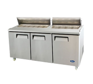Mega Top Sandwich/Salad Reach-In Refrigerator, three-section, self-contained refrigeration, 22.6 cu. ft. capacity, includes (30) 1/6 stainless steel pans, 33° to 45°F temperature range, (3) locking hinged self-closing doors, (3) adjustable shelves, poly cutting board, ventilated refrigeration, automatic lighting & evaporation, air defrost, stainless steel interior & exterior, galvanized steel back, casters, front breathing side mounted refrigeration, 630 watts, 115v/60/1-ph, 7.5 amps, 1/2 HP, cETLus, ETL, CE