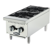 "Heavy Duty Hotplate, gas, counter model, 12"", (2) 25,000 BTU burners, standby pilots, cast iron grates, independent manual controls, stainless steel structure, adjustable stainless steel legs, 50,000 BTU, cETLus, ETL"